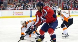 Alex Ovechkin of the Washington Capitals and Michael Del Zotto of the Philadelphia Flyers