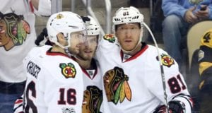 Chicago Blackhawks forwards Marcus Kruger, Ryan Hartman and Marian Hossa