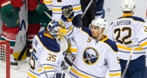 Evander Kane and Linus Ullmark of the Buffalo Sabres
