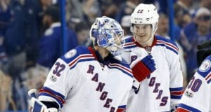 Antti Raanta and Nick Holden of the New York Rangers
