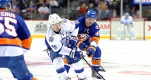 John Tavares of the New York Islanders and Tyler Johnson of the Tampa Bay Lightning