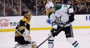 Tyler Seguin of the Dallas Stars and Tuukka Rask of the Boston Bruins