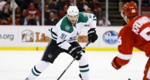 Tyler Seguin of the Dallas Stars and Niklas Kronwall of the Detroit Red Wings
