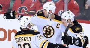 Zdeno Chara and Matt Beleskey of the Boston Bruins