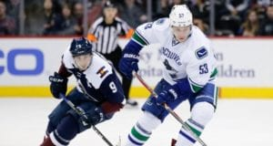Matt Duchene of the Colorado Avalanche and Bo Horvat of the Vancouver Canucks