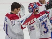 Montreal Canadiens goaltenders Al Montoya and Carey Price