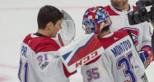 Montreal Canadiens goaltenders Al Montoya and Carey Price