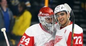 Detroit Red Wings Andreas Athanasious and Petr Mrazek