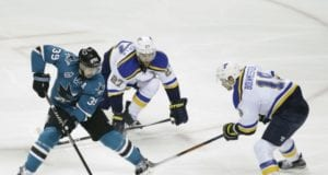 Injured St. Louis Blues defensemen Jay Bouwmeester and Alex Pietrangelo