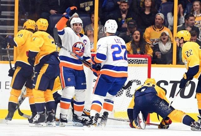 New York Islanders John Tavares scoring on the Nashville Predators