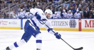 Tampa Bay Lightning defenseman Victor Hedman leaves with lower-body injury.