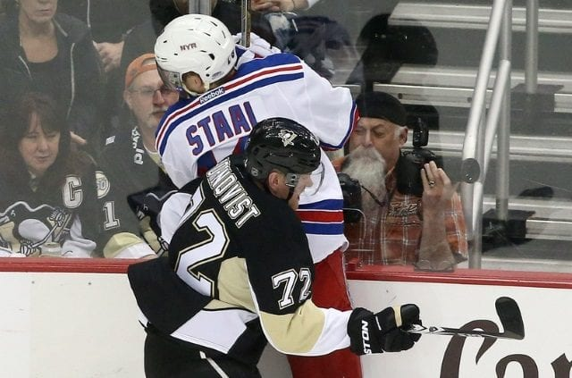 Marc Staal leaves after taking a hit to the head. Patric Hornqvist out with a lower-body injury.