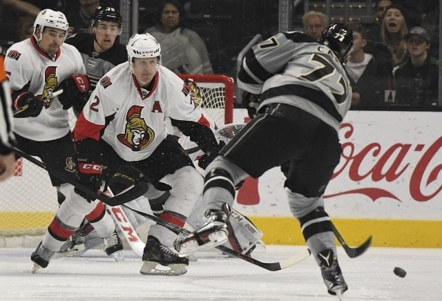 The Ottawa Senators trade Dion Phaneuf and Nate Thompson to the Los Angeles Kings for Marian Gaborik and Nick Shore
