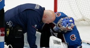 Semyon Varlamov forced to leave last nights game.