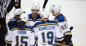 St. Louis Blues Robby Fabbri and Jay Bouwmeester