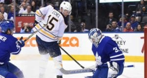 Frederik Andersen left last nights game with an upper-body injury. Jack Eichel won't go tonight, but is getting close.