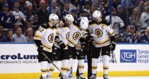 Boston Bruins forward David Backes need to be helped off after a hit from J.T. Miller.