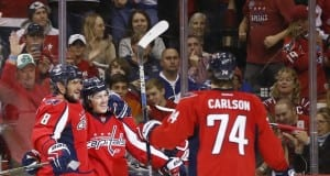TJ Oshie, John Carlson and Alex Ovechkin