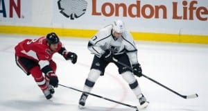 Milan Lucic of the LA Kings and Marc Methot of the Ottawa Senators