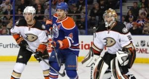 Cam Fowler of the Anaheim Ducks and Taylor Hall of the Edmonton Oilers