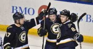Jaden Schwartz and Kevin Shattenkirk of the St. Louis Blues