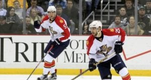 Aaron Ekblad and Vincent Trocheck of the Florida Panthers