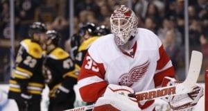 Detroit Red Wings goalie Jimmy Howard against the Boston Bruins