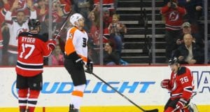 New Jersey Devils forward Patrik Elias after scoring on the Philadelphia Flyers