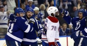 P.K. Subban, then of the Montreal Canadiens and Steven Stamkos of the Tampa Bay Lightning