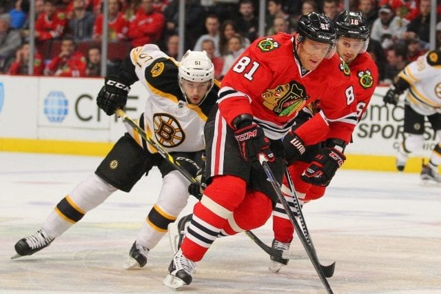 Marian Hossa and Marcus Kruger both suffered injuries yesterday