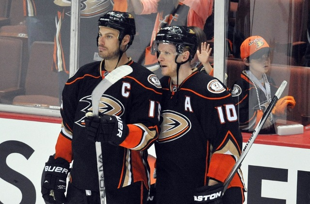 Ryan Getzlaf and Corey Perry of the Anaheim Ducks