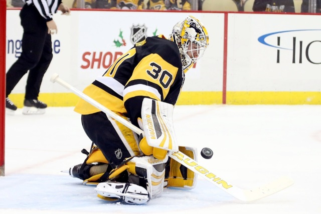 Pittsburgh Penguins goalie Matt Murray left last night's game after the second period