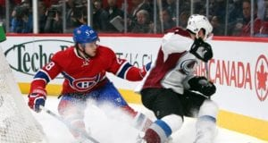 Matt Duchene of the Colorado Avalanche and Nathan Beaulieu of the Montreal Canadiens