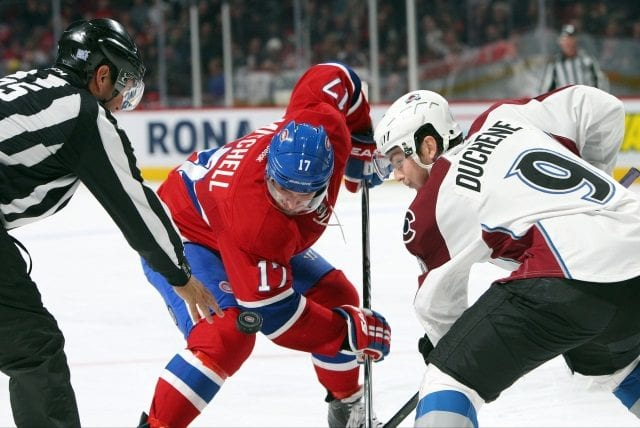 Matt Duchene of the Colorado Avalanche and Torrey Mitchell of the Montreal Canadiens