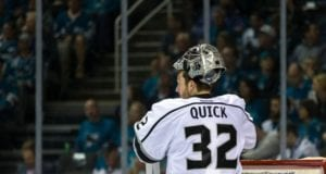 Los Angeles Kings goalie Jonathan Quick was on the ice yesterday