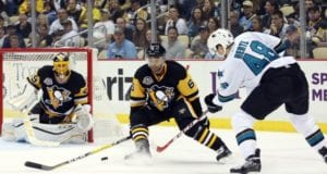 Marc-Andre Fleury and Trevor Daley of the Pittsburgh Penguins