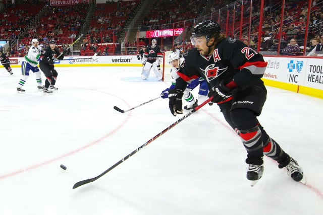 Justin Faulk would be one of the Carolina Hurricanes defensive depth that has teams interested