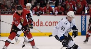 Steven Stamkos of the Tampa Bay Lightning and Erik Karlsson of the Ottawa Senators