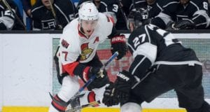 Alec Martinez of the LA Kings and Kyle Turris of the Ottawa Senators