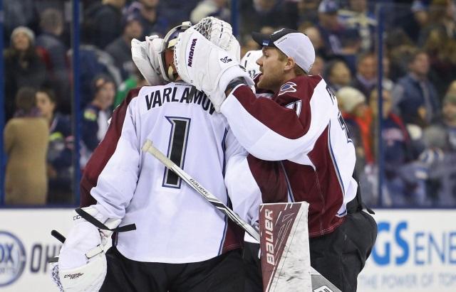 Semyon Varlamov and Calvin Pickard of the Colorado Avalanche