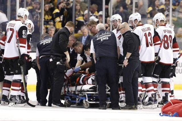 Arizona Coyotes Alex Burmistrov leaves the game on a stretcher, released from hospital