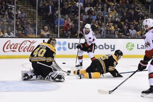 Boston Bruins Tuukka Rask makes a save against the Ottawa Senators