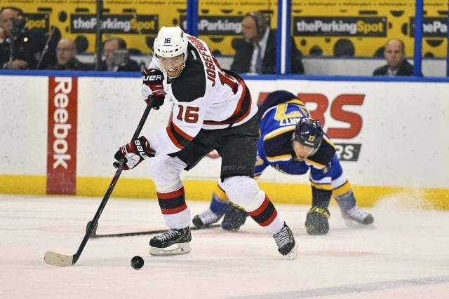 New Jersey Devils Jacob Josefson against the St. Louis Blues