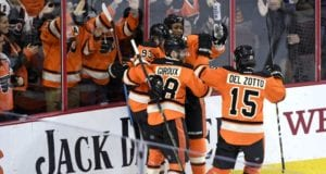 Michael Del Zotto, Claude Giroux, Wayne Simmonds and Jakob Voracek of the Phildalelphia Flyers