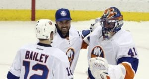 J-F Berube and Jaroslav Halak of the New York Islanders