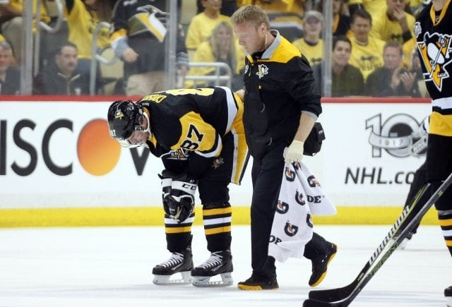 Pittsburgh Penguins captain Sidney Crosby left last night's game early