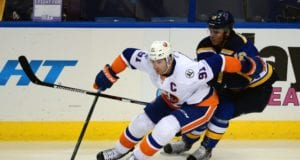 John Tavares of the New York Islanders and Jori Lehtera of the St. Louis Blues