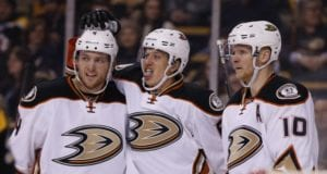 Anaheim Ducks Cam Fowler, Corey Perry and Rikard Rakell
