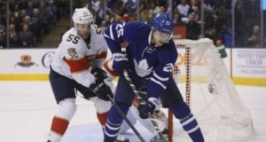 Jason Demers of the Florida Panthers and James van Riemsdyk of the Toronto Maple Leafs
