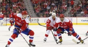 Washington Capitals forwards Alex Ovechkin and Evgeny Kuznetsov